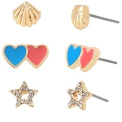 BCBGeneration Heart Star Stud Gold-tone Metal Earrings