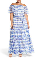 Eliza J Print Chiffon Ruffled Off the Shoulder Maxi Dress (Plus Size)