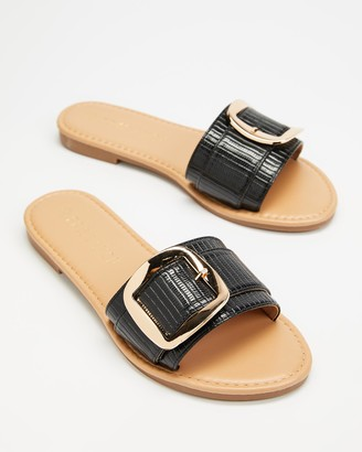 Freelance Shoes - Women's Black Flat Sandals - Kyoto - Size One Size, 38 at The Iconic