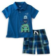 Kids Headquarters Monster Polo and Plaid Shorts Set