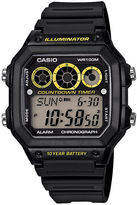 Casio Illuminator Mens Black Resin Strap Square Sport Watch AE1300WH-1OS