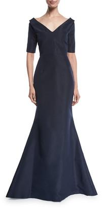 Carolina Herrera 1/2-Sleeve Off-The-Should Faille Mermaid Gown