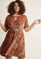 Present the Event Velvet Dress in Amber in M - Short Sleeve A-line Knee Length by ModCloth