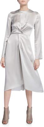 Vince Twist-Front Long-Sleeve Silk Midi Dress