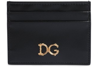 Dolce & Gabbana Leather Baroque Logo Card Holder