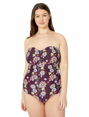Anne Cole Women's Plus-Size Shirred Bandeau One Piece Swimsuit