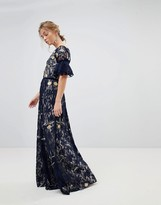 Frock and Frill Allover Floral Embroidered Lace Maxi Dress With Flutter Sleeve