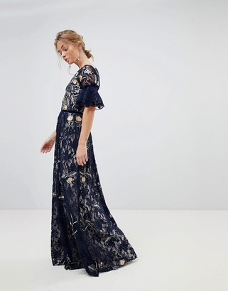 Frock and Frill Allover Floral Embroidered Lace Maxi Dress With Flutter Sleeve-Navy