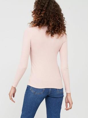 MANGO Embellished Shoulder Jersey Top - Light Pink