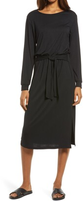 Fraiche by J Tie Waist Long Sleeve Midi Dress