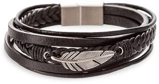 Eye Candy La Jayden Titanium Faux Leather Feather Charm Bracelet