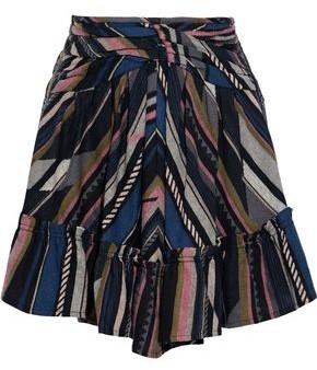 IRO Verene Ruched Silk And Cotton-blend Jacquard Mini Skirt