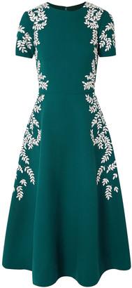 Oscar de la Renta Embroidered Wool-blend Crepe Midi Dress
