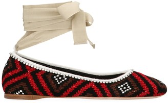Miu Miu Crochet Ballerina Flat Shoes