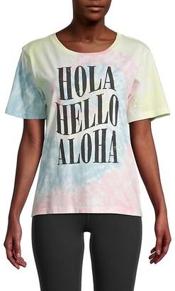 Chrldr Hola Hello Aloha Tie-Dye Cotton T-Shirt