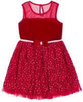 Little Lass Short Sleeve Red Velvet Lace Dress - Baby Girls