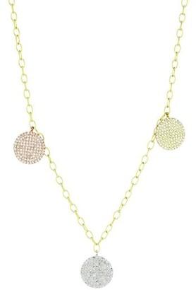 Meira T 14K Tri-Tone Gold & Diamond Disc Necklace