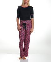 Catherine Malandrino Pink & Black Paisley Pajama Set