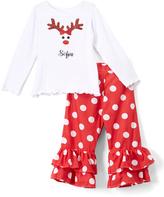 Beary Basics Red Personalized Long-Sleeve Tee & Ruffle Pants - Toddler & Girls