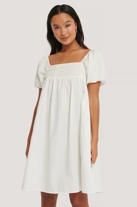 NA-KD Smocked Cotton Puff Sleeve Dress