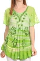 Sakkas 16789 - Reya Lace Embroidered Cap Sleeve Corset Tie Dye Blouse Top Shirt - OSP