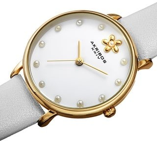 Akribos XXIV Ladies Fashion Pearl Style Floral Leather Strap Watch