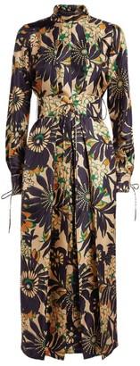 Victoria Beckham Silk Floral Print Midi Dress