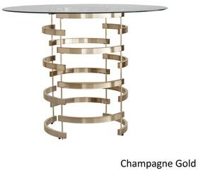 Inspire Q Nova Round Glass Top Vortex Iron Base Counter Height Table by Bold