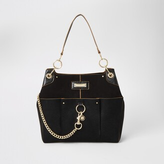 River Island Womens Black chain front utility slouch bag