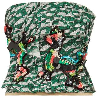 Matty Bovan - Sequinned Fish-print Poplin Bustier Top - Womens - Green Multi