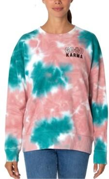 Rebellious One Juniors' Tie-Dyed Good Karma Graphic Sweatshirt