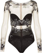 PEONY Black bodysuit in embroidered stretch tulle and silk georgette