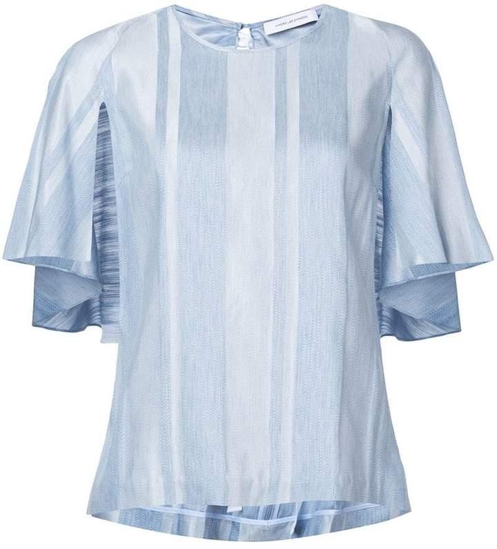 Kimora Lee Simmons striped ruffle blouse