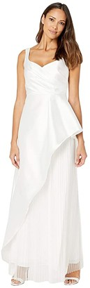 Adrianna Papell Mikado Evening Gown with Pleats (Ivory) Women's Dress