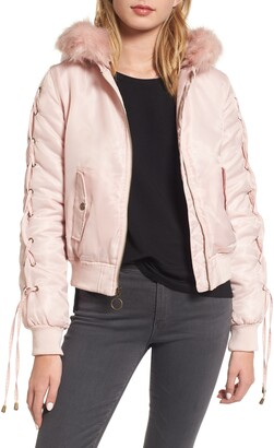 Kensie Lace-Up Sleeve Quilted Bomber Jacket