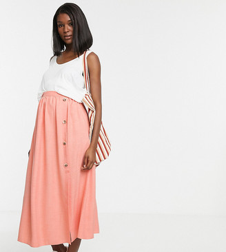 ASOS DESIGN Maternity button front maxi skirt in linen