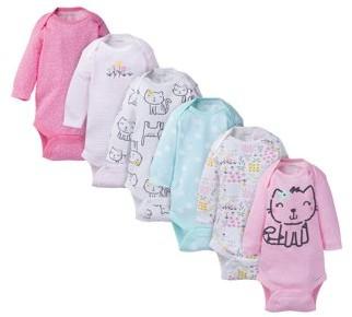 Onesies Brand Baby Girl Long Sleeve Bodysuits Set, 6-Pack