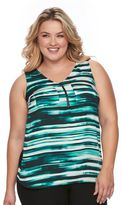 Apt. 9 Plus Size Half-Zip Mixed-Media Top