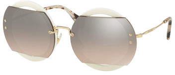 Miu Miu Round Cutout Acetate and Metal Sunglasses