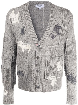 Thom Browne Embroidered Button-Up Cardigan