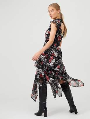 Very Ruffled Dobby Hanky Hem Dress - Black/Floral