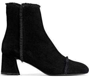 Stuart Weitzman Fringe-trimmed Suede Ankle Boots