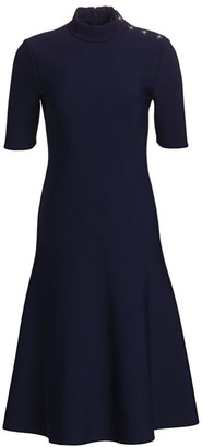 St. John Sculpted Milano Knit Fit-&-Flare Dress