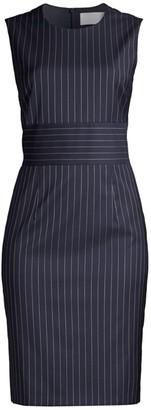BOSS Dometa Traceable Stretch Wool Pinstripe Dress