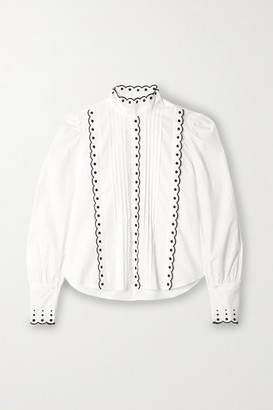See by Chloe Pintucked Embroidered Cotton-poplin Blouse - White