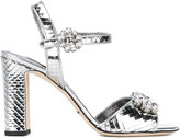 Dolce & Gabbana mirrored embellished sandals - women - Cotton/Calf Leather/Leather/Polyurethane - 35