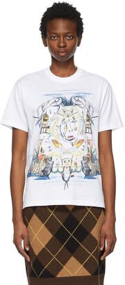 Burberry White Marine Sketch Oversized T-Shirt