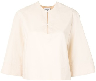 MARK KENLY DOMINO TAN Boxy Fit Blouse