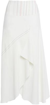 Roland Mouret Hurst Draped Embroidered Crepe Midi Skirt