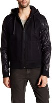 Rogue Wool Blend Faux Leather Hooded Varsity Jacket